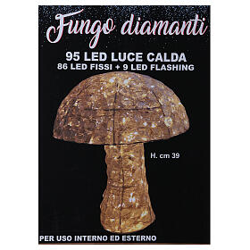 Mushroom Lighted with 95 LED in warm white diamond h 39 cm indoor and outdoor use s4