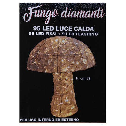 Mushroom Lighted with 95 LED in ice white diamond h 39 cm indoor and outdoor use 5