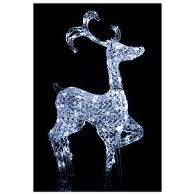 Luz reno de pie diamantes 120 led h 92 cm uso int ext blanco frío s2