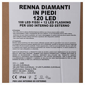 Luz reno de pie diamantes 120 led h 92 cm uso int ext blanco frío s6