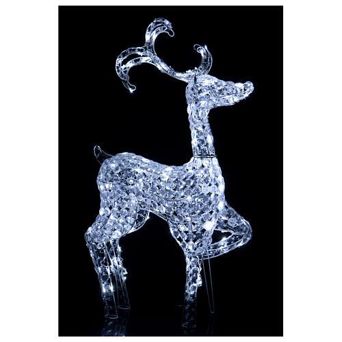 Luz reno de pie diamantes 120 led h 92 cm uso int ext blanco frío 2