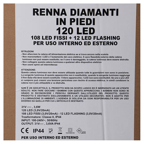 2f94cf282f1 Luz reno de pie diamantes 120 led h 92 cm uso int ext blanco frío 6