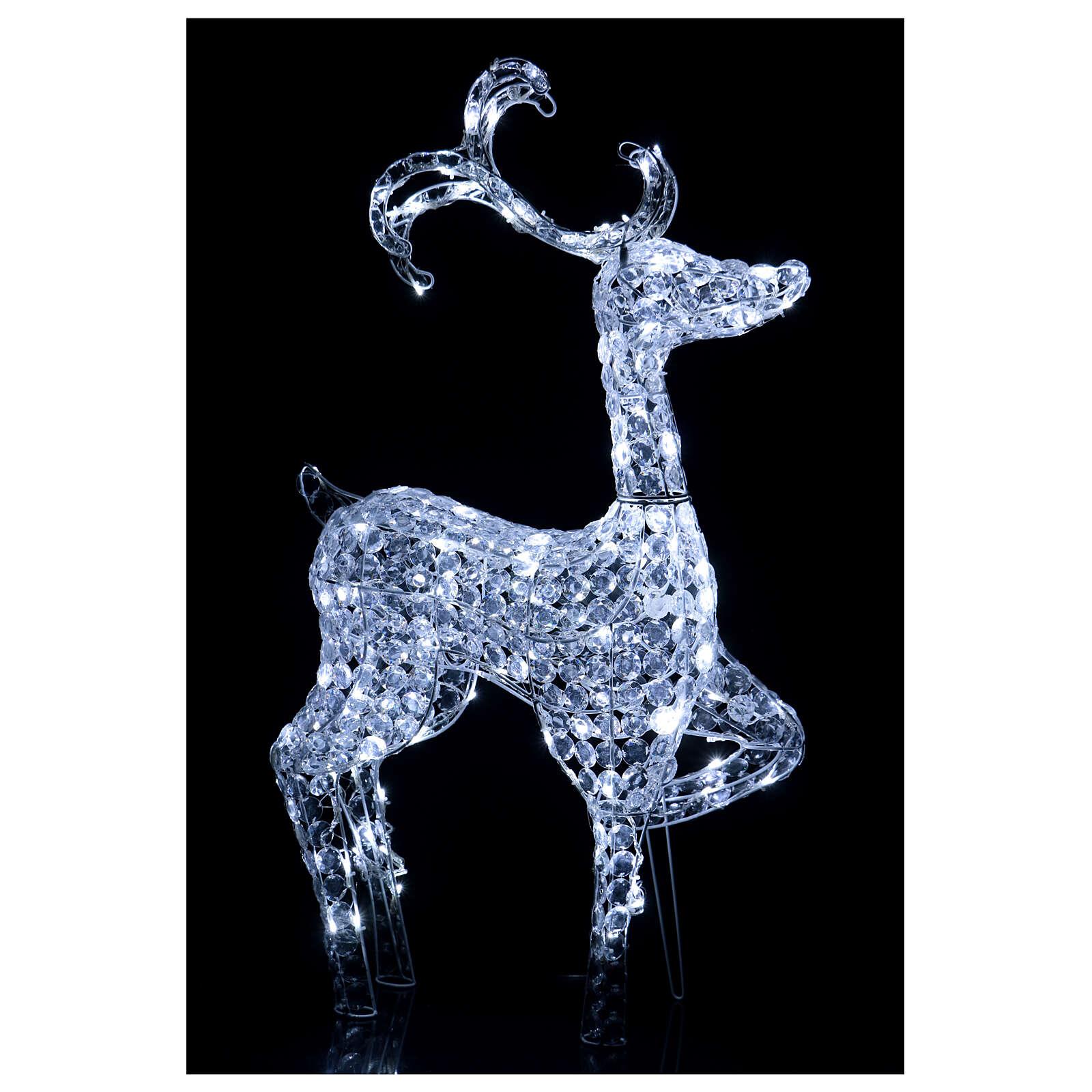 Lumière renne debout 120 LED h 92 cm usage int/ext blanc froid 3