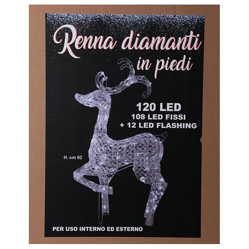 Lumière renne debout 120 LED h 92 cm usage int/ext blanc froid 5