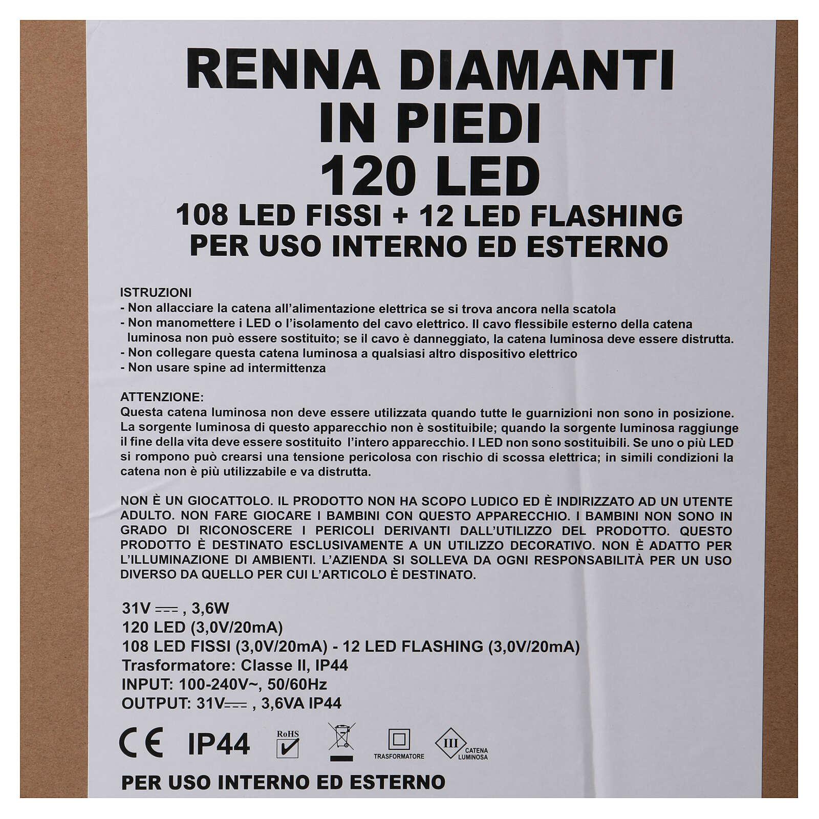 Luce renna in piedi diamanti 120 led h 92 cm uso int est bianco freddo 3