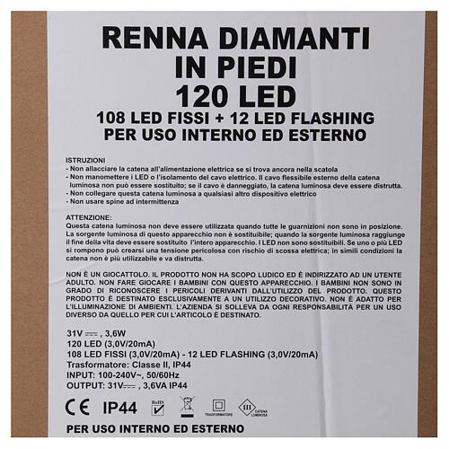 Luce renna in piedi diamanti 120 led h 92 cm uso int est bianco freddo 6