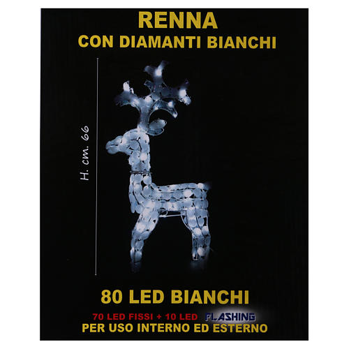 Lighted Reindeer 80 LED ice white h 66 cm indoor outdoor use 6