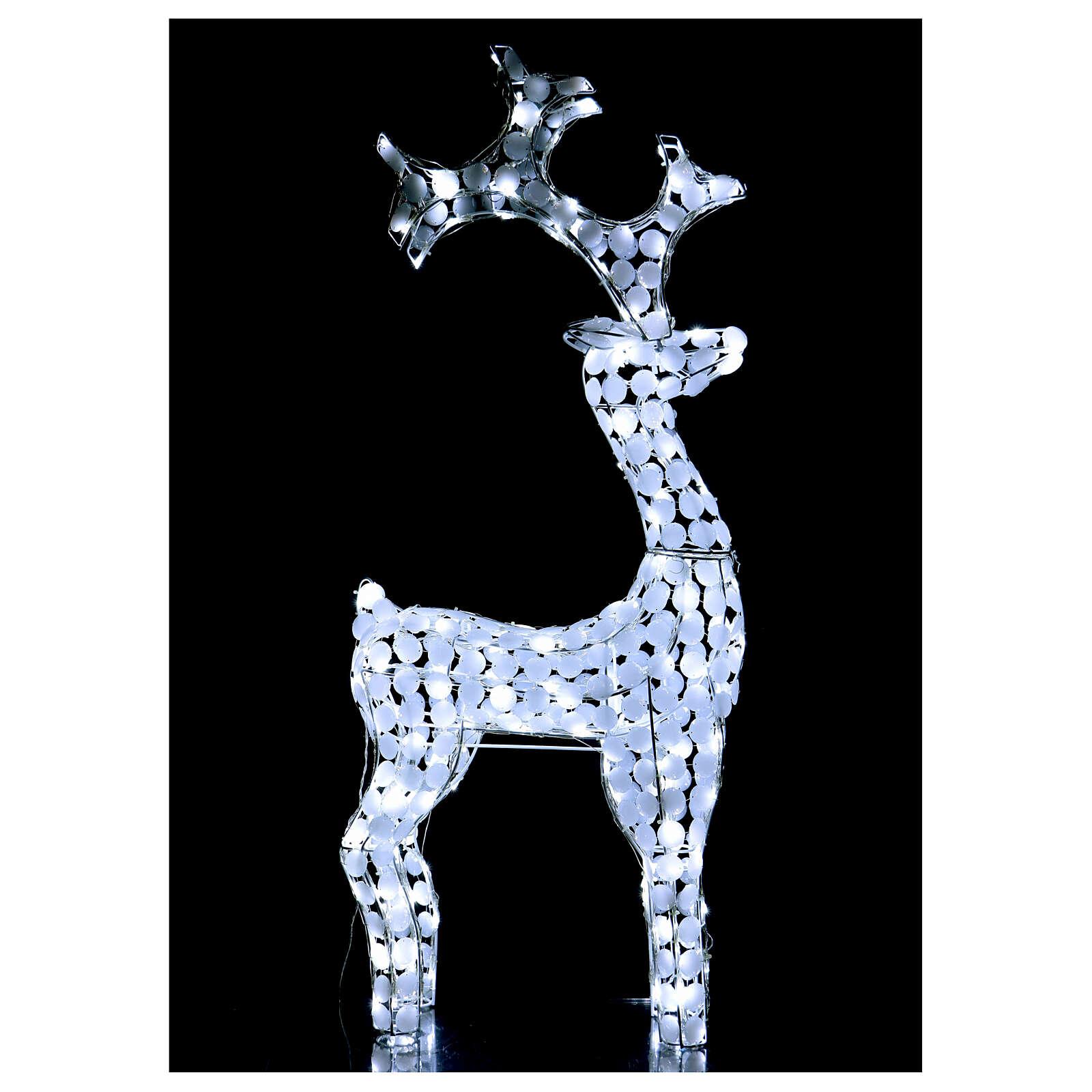 Luz reno blanco hielo 200 led h 115 cm uso interior exterior 3