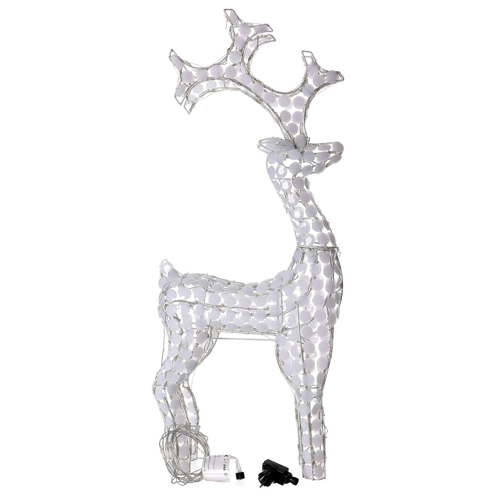 Luce renna bianco ghiaccio 200 led h 115 cm uso interno esterno 3