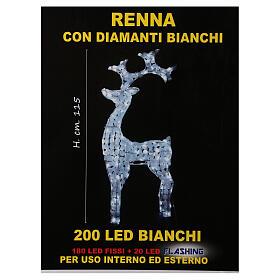 Luce renna bianco ghiaccio 200 led h 115 cm uso interno esterno s5