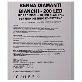 Luce renna bianco ghiaccio 200 led h 115 cm uso interno esterno s6