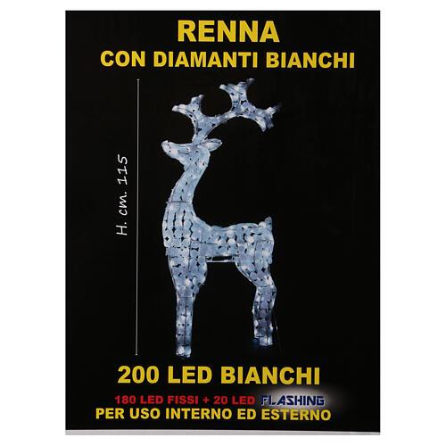Luce renna bianco ghiaccio 200 led h 115 cm uso interno esterno 5