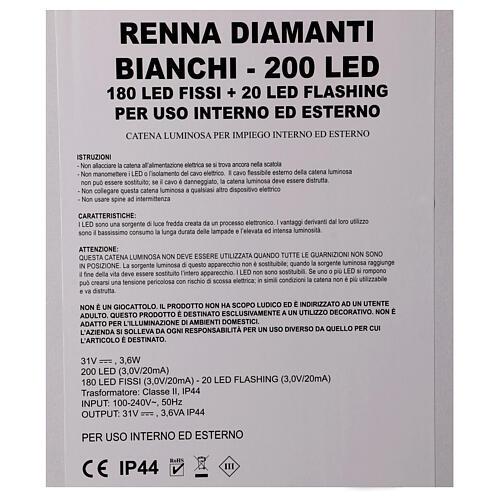 Luce renna bianco ghiaccio 200 led h 115 cm uso interno esterno 6