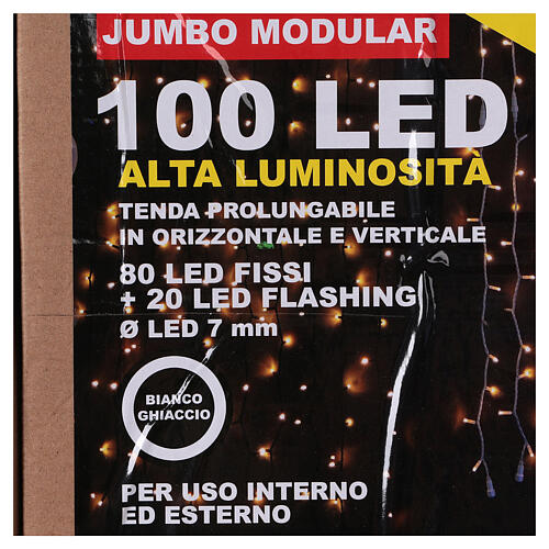 Cortina 100 Jumbo Led Luz Fría prolongable 6