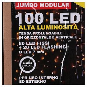 Curtain String Lights 100 Jumbo LED Cold Light Extendable s7