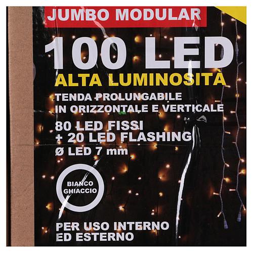 Curtain String Lights 100 Jumbo LED Cold Light Extendable 7