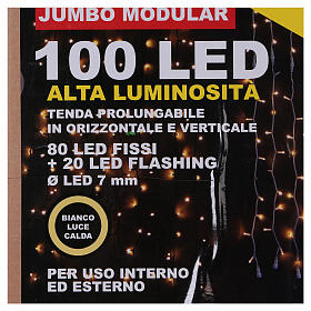 Weihnachtslichter Vorhang 100 Jumbo Leds warmweiss verlängerbar s7