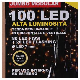 String Light Curtain Warm Light 100 Jumbo LED Extendable s7