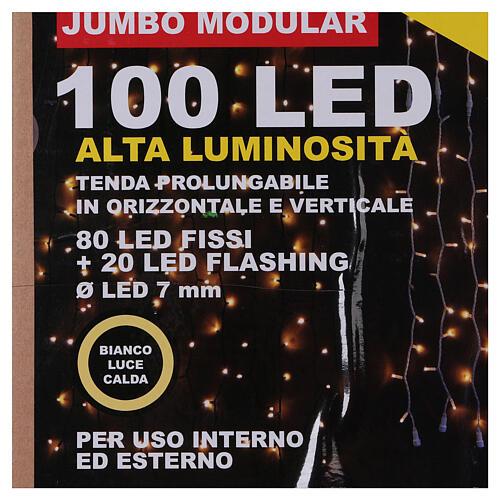 String Light Curtain Warm Light 100 Jumbo LED Extendable 7
