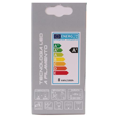 Lampadina Led 8W Goccia Filamento E27 3