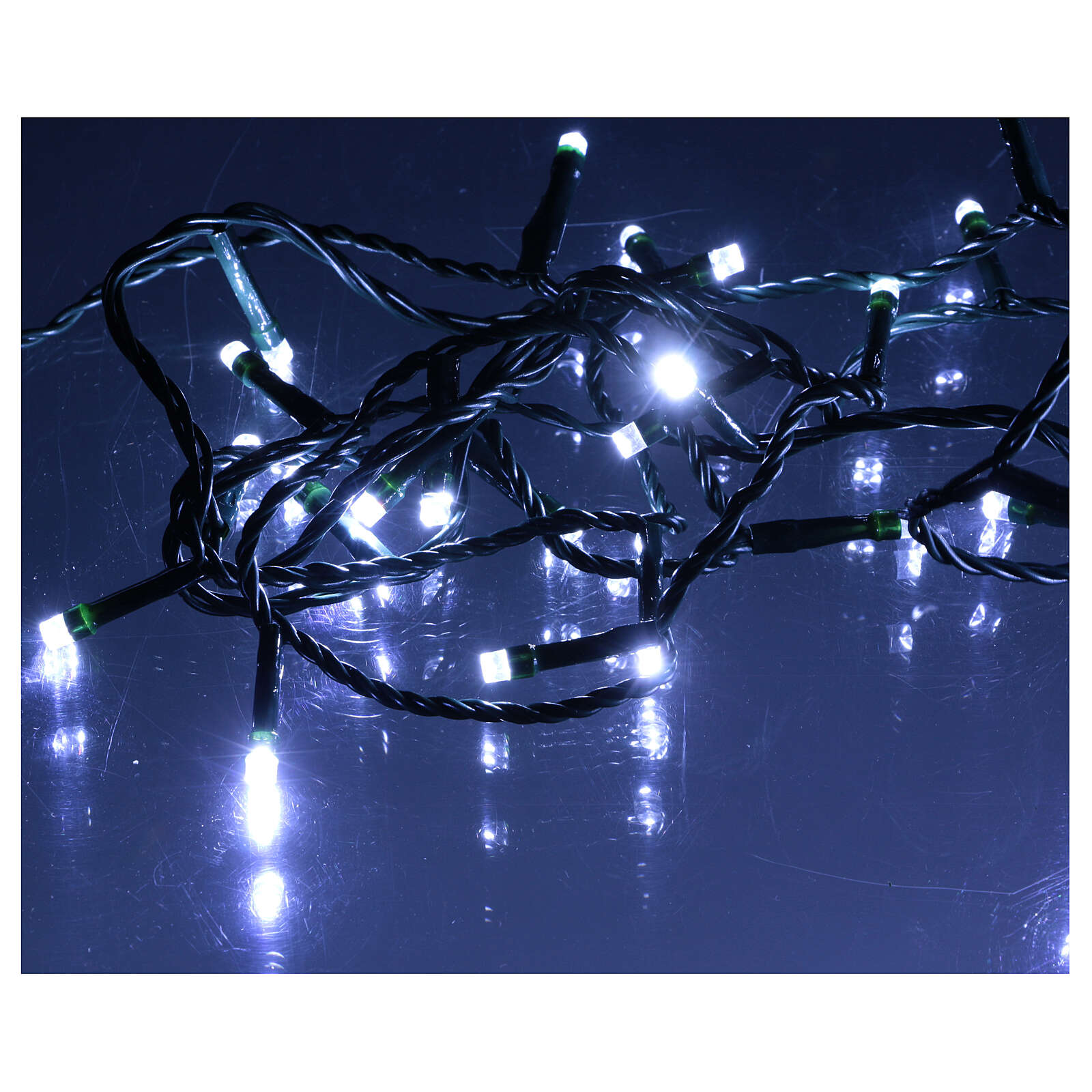 Ice white and multicoloured LED light chain with play of lights 3