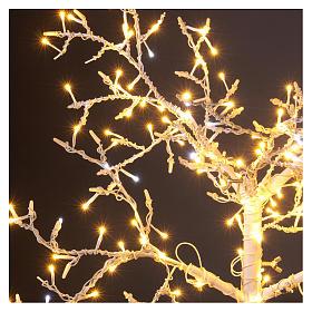 Albero luminoso Natalizio metallo 90 cm 210 LED bianco caldo e freddo esterno s3
