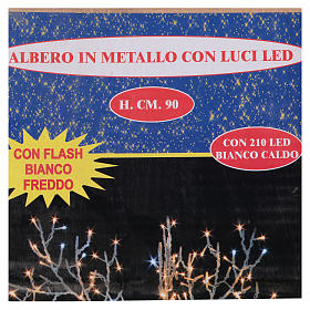 Albero luminoso Natalizio metallo 90 cm 210 LED bianco caldo e freddo esterno s4