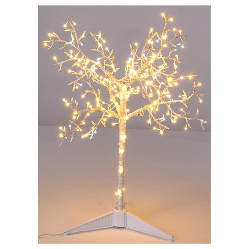Albero luminoso Natalizio metallo 90 cm 210 LED bianco caldo e freddo esterno 1