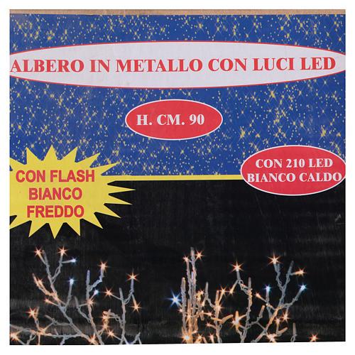 Albero luminoso Natalizio metallo 90 cm 210 LED bianco caldo e freddo esterno 4