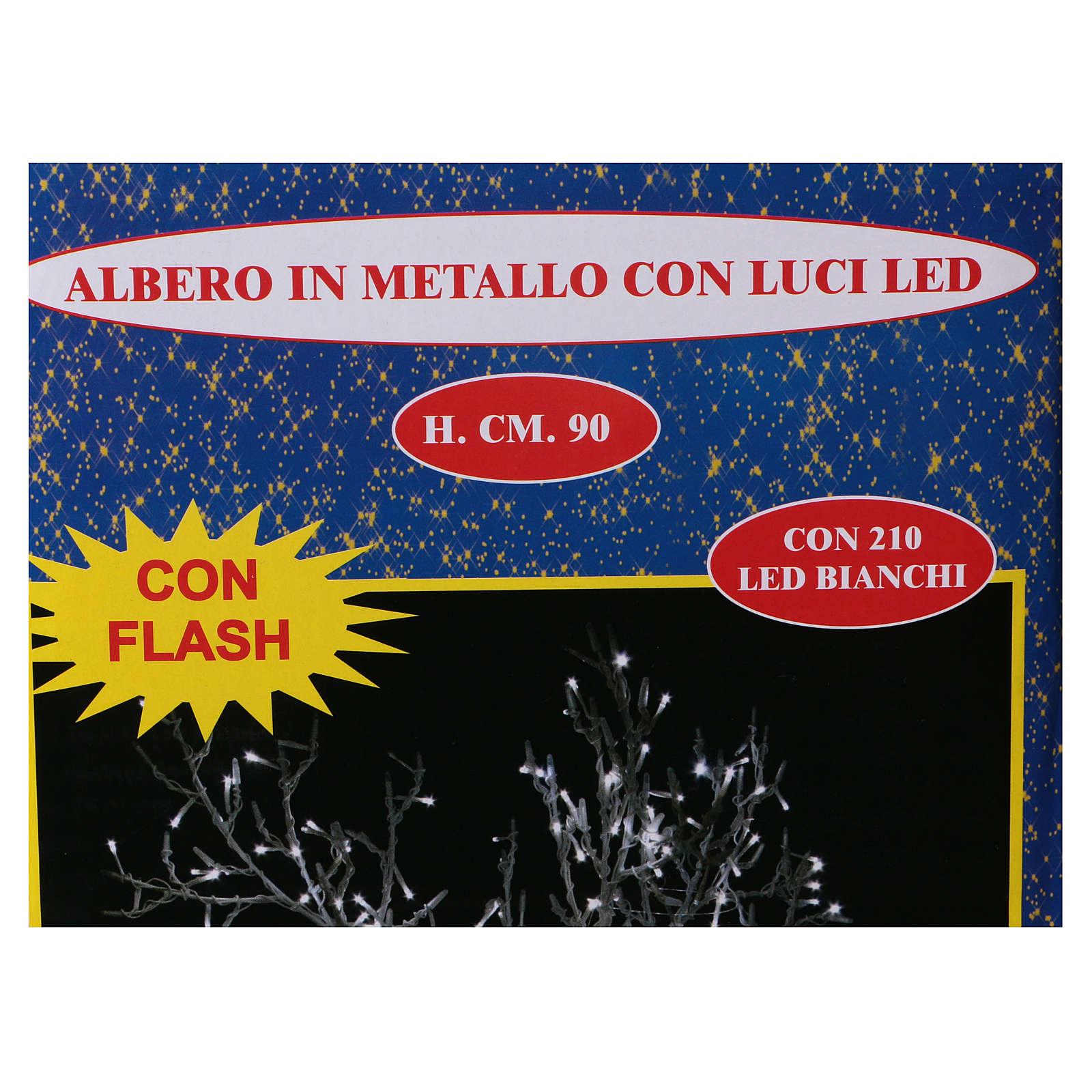 Albero luminoso Natalizio metallo 90 cm 210 LED bianco freddo esterno 3
