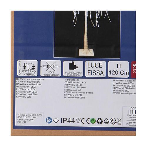Albero luminoso Natalizio Salice piangente 120 cm 240 LED bianco freddo esterno 4