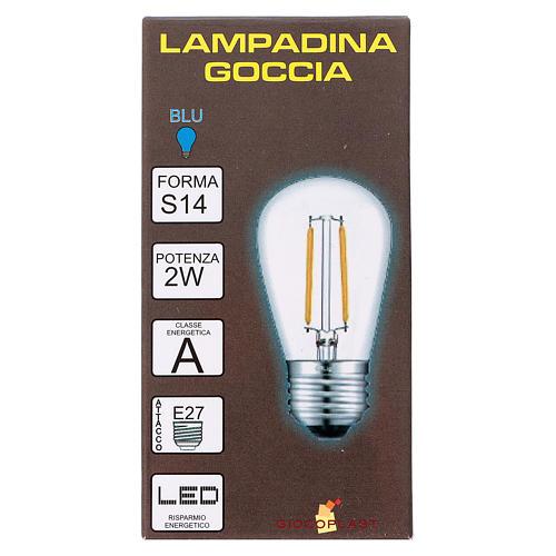 Ampoule goutte bleue E27 pour chaîne avec soquets 2
