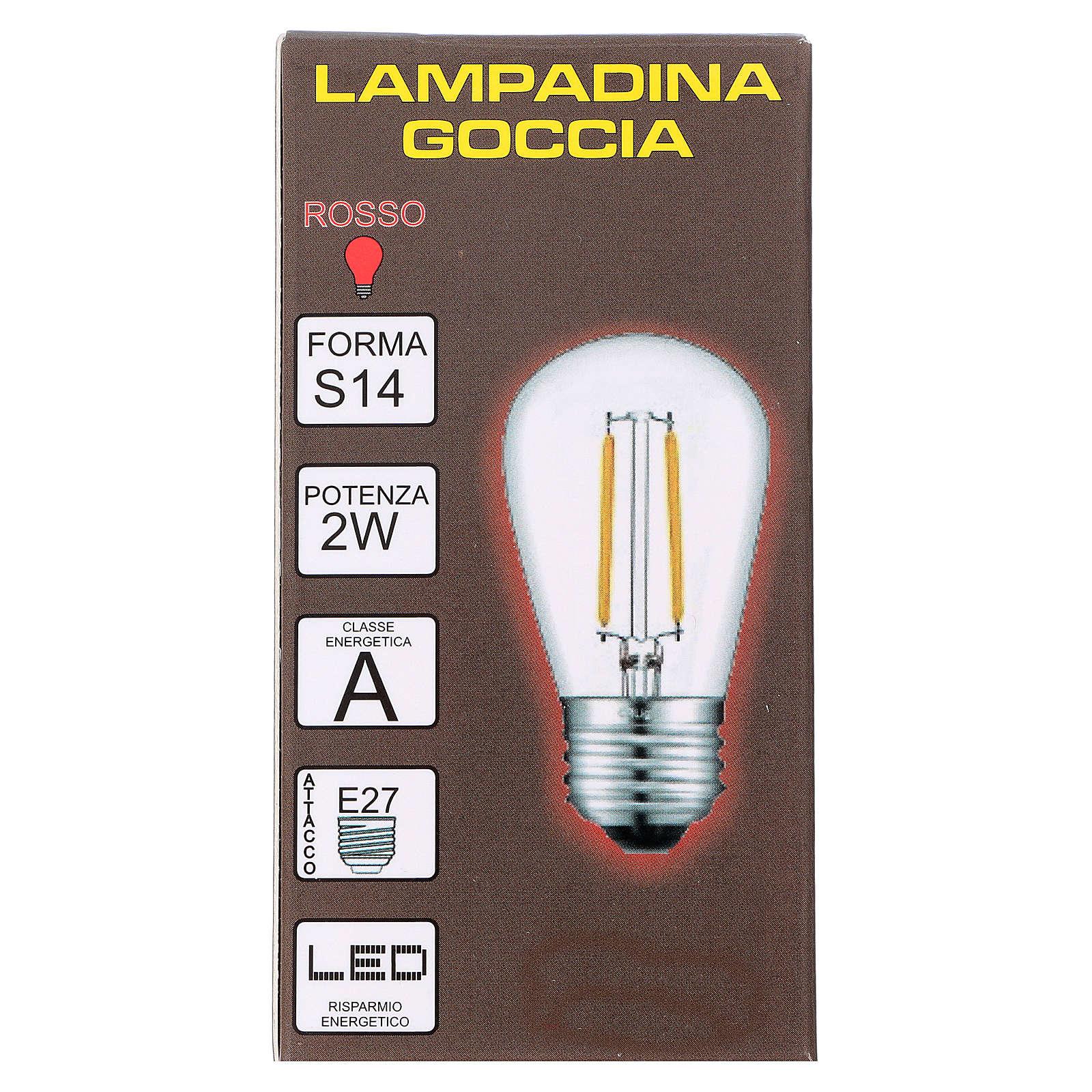 Ampoule goutte rouge E27 pour chaîne avec soquets 3