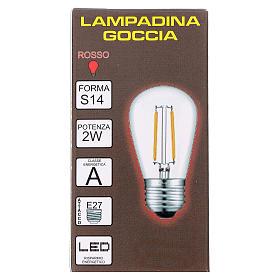 Ampoule goutte rouge E27 pour chaîne avec soquets s2