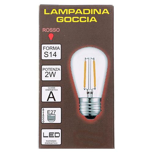 Ampoule goutte rouge E27 pour chaîne avec soquets 2