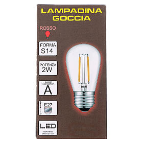 Red drop light bulb E27 for lamp holder chains s2