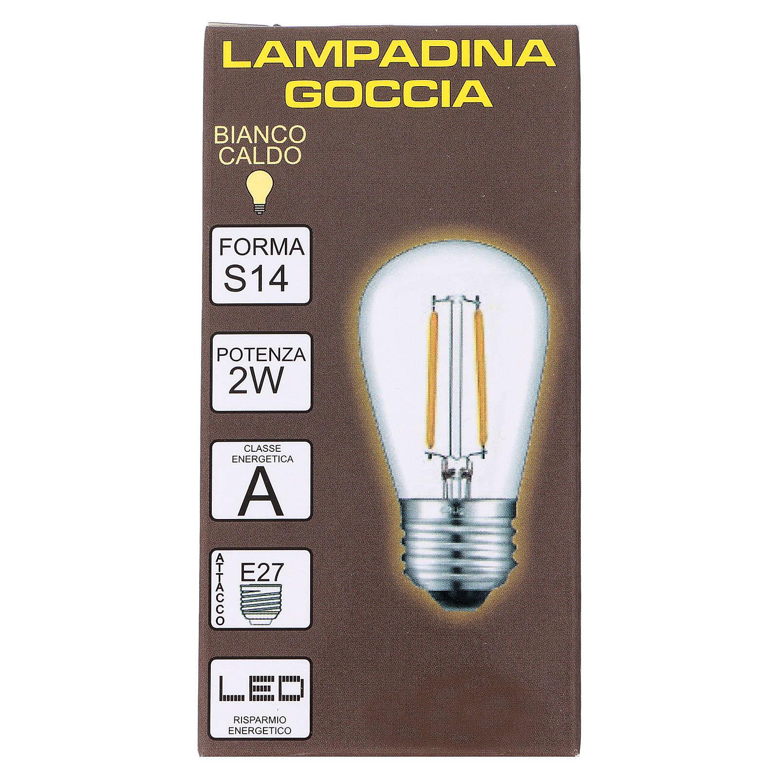 Ampoule goutte blanche E27 pour chaîne avec soquets 3