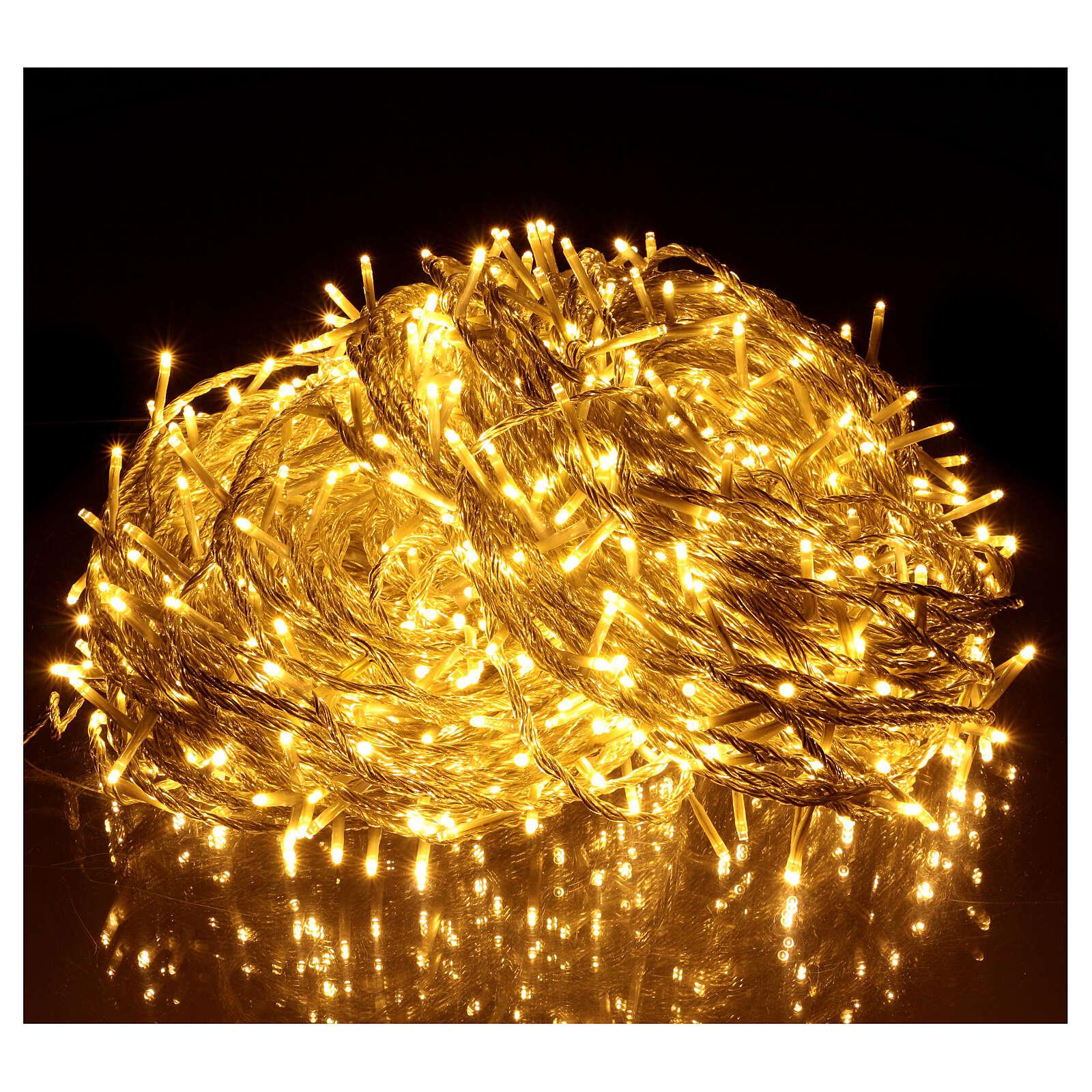 Luce Natale catena 1000 Led bianchi luce calda esterni flash control unit 100 m 3