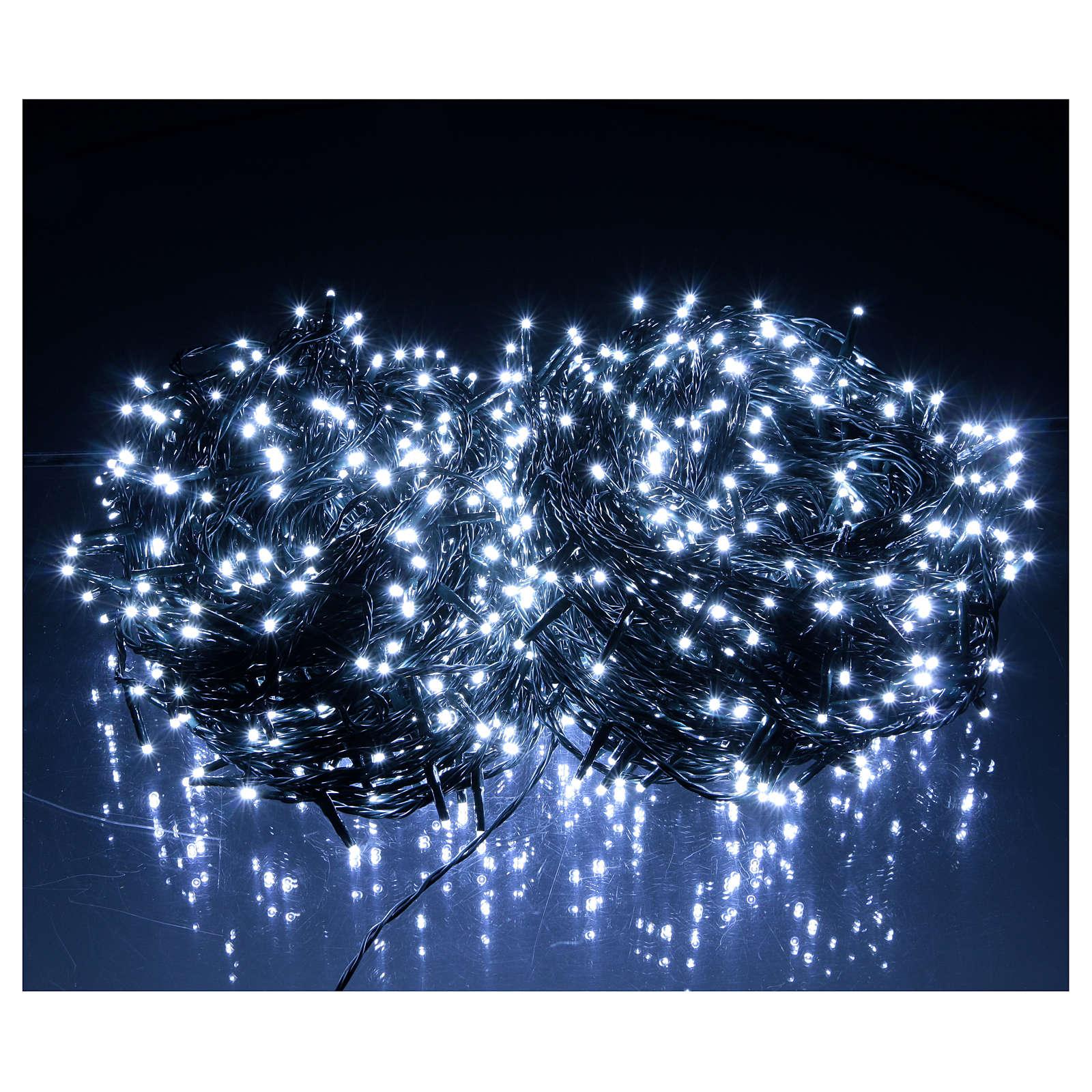 Luce Natalizia catena verde 1000 led bianchi esterni interruttore 100 m 3