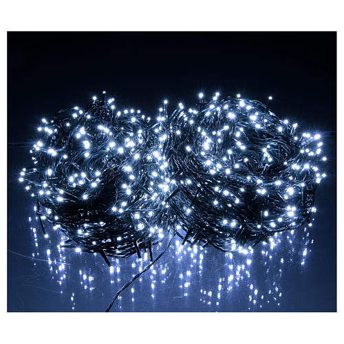 Christmas lights 1000 white LEDs with green cable external control unit 100 m 2