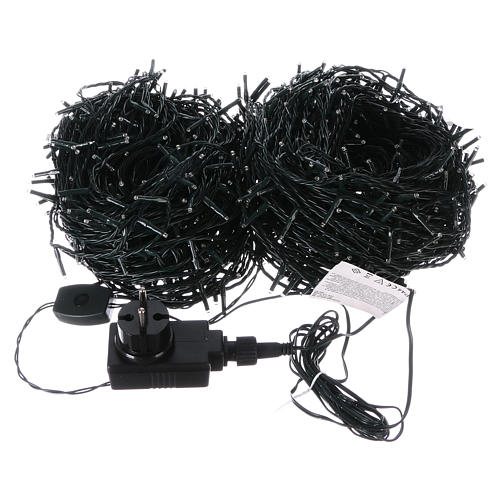 Christmas lights 1000 white LEDs with green cable external control unit 100 m 3