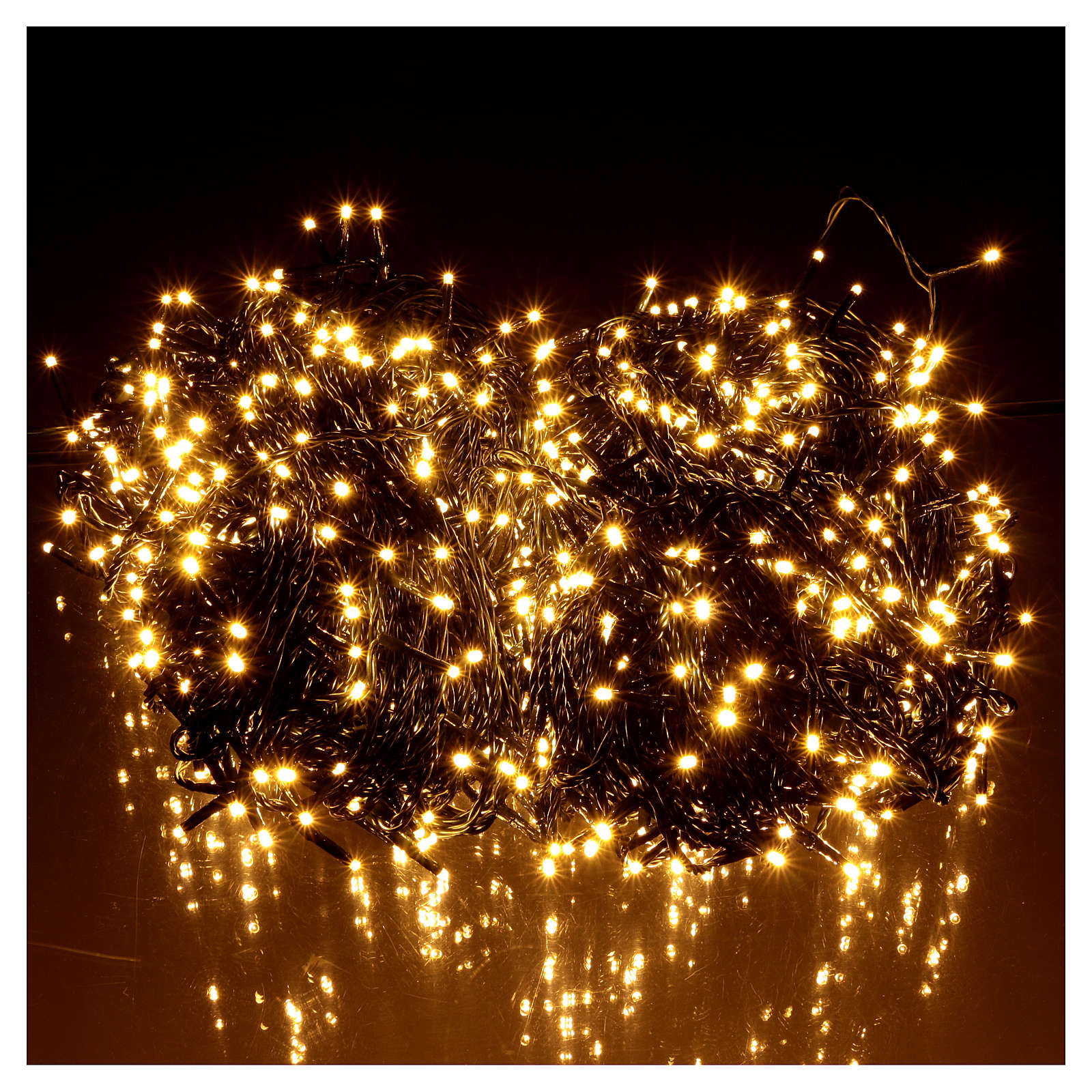 Luce Natale catena verde 1000 led caldi bianchi esterni interruttore 100 m 3