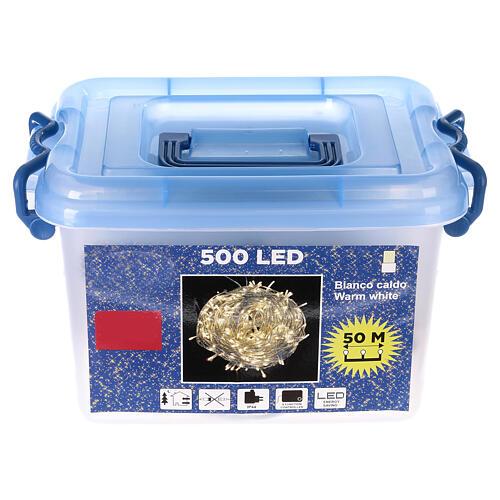 Luz Navidad cadena 500 led blancos luz cálida exterior interruptor 50 m 6
