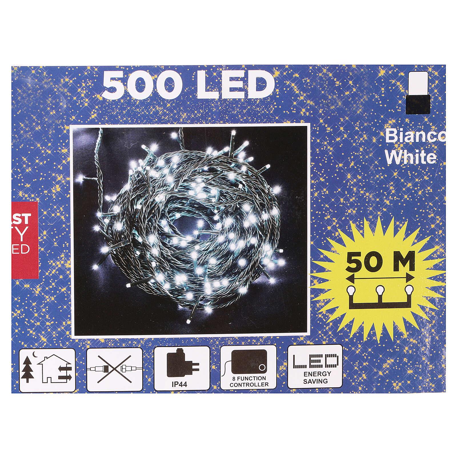 Luce Natale catena verde 500 Led bianchi luce fredda esterni interruttore 50 m 3
