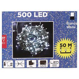 Luce Natale catena verde 500 Led bianchi luce fredda esterni interruttore 50 m s4