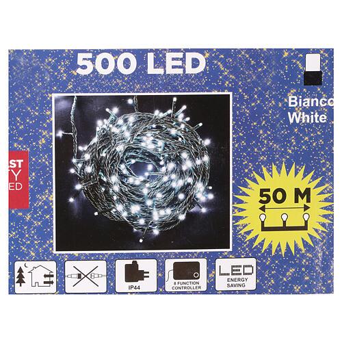Luce Natale catena verde 500 Led bianchi luce fredda esterni interruttore 50 m 4
