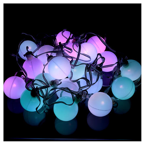 Christmas globe lights 20 multi-color with external flash control unit 7.6 m 2