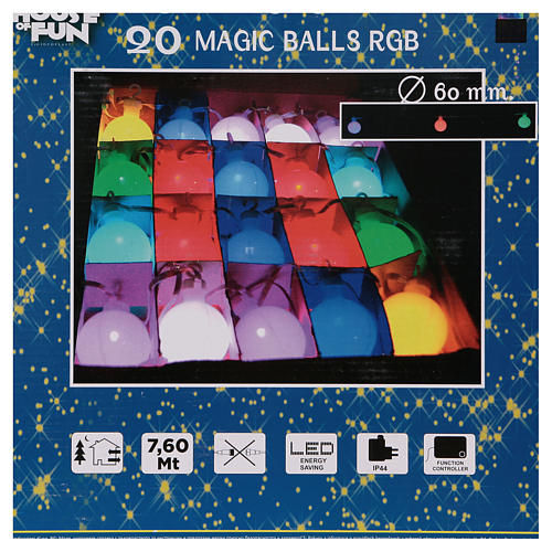 Christmas globe lights 20 multi-color with external flash control unit 7.6 m 10