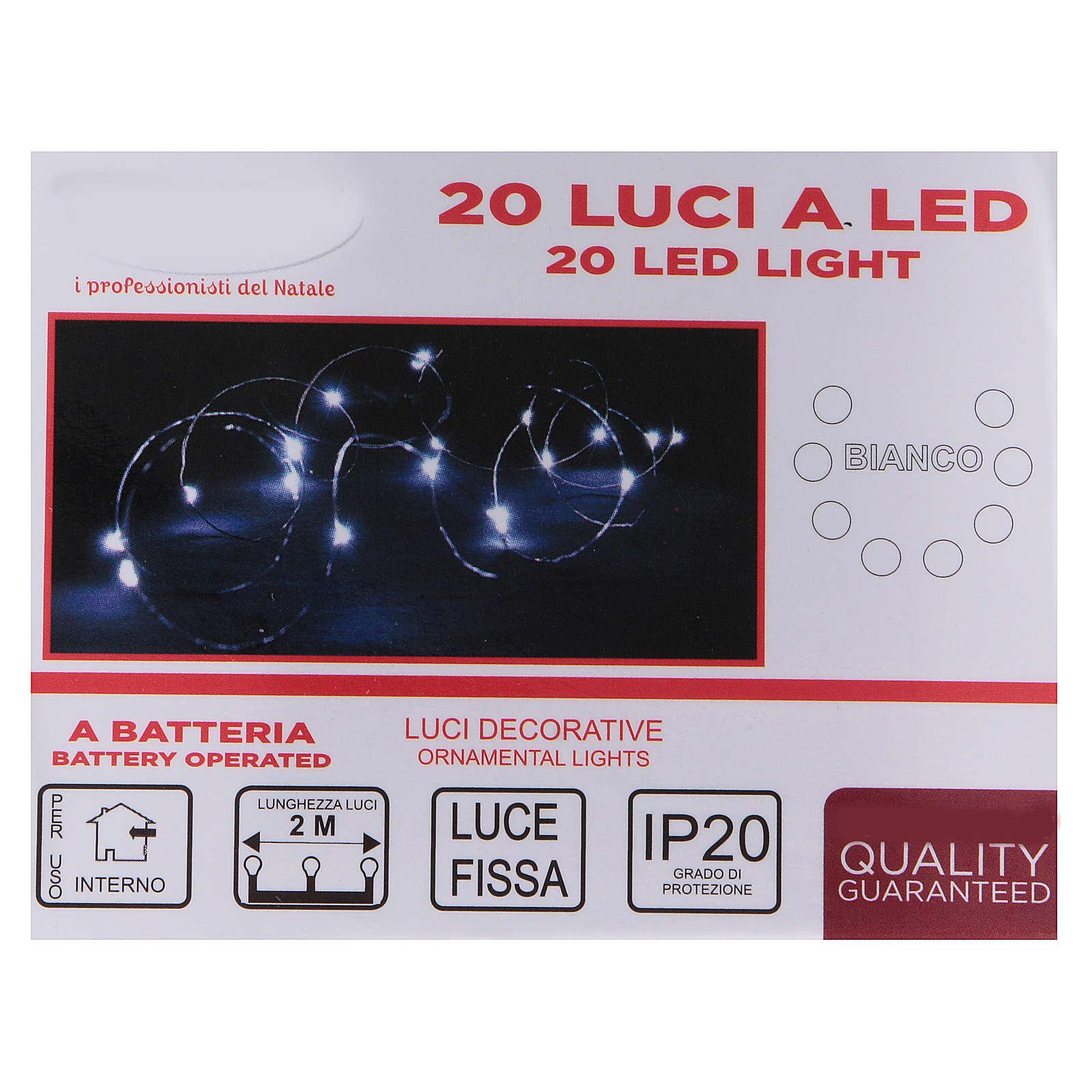 Luce Natalizia 20 gocce led bianche interno batterie 3