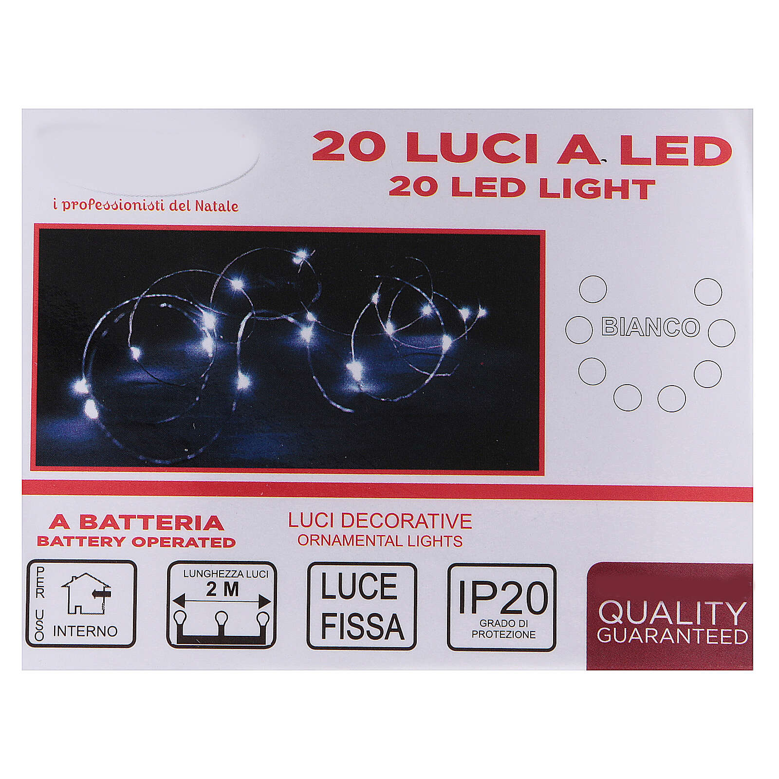 20 drop Christmas LEDs light in white, battery powered 3
